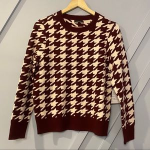 Halogen burgundy pink houndstooth sweater soft